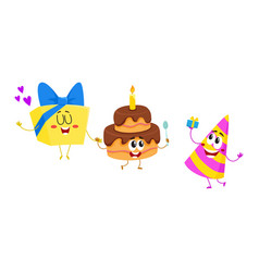 funny birthday characters - hat cake gift box vector image vector image