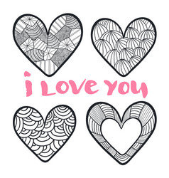 hearts set in zentangle style for coloring book vector image vector image