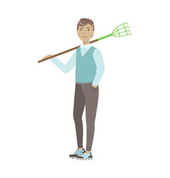 man holding rake on his shoulder cartoon adult vector image