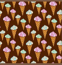seamless pattern with ice cream on dark vector image