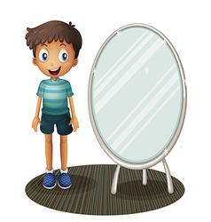 A boy standing beside the mirror vector image vector image