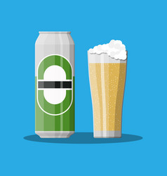 can of beer with glass beer alcohol drink vector image