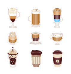coffee hot and cold cocktails menu assortment of vector image vector image