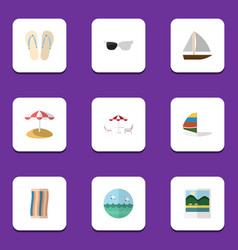 flat icon season set of parasol ocean spectacles vector image vector image