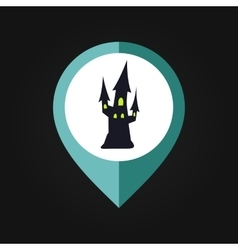Halloween witch castle mapping pin icon vector image vector image