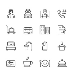 Hotel and Hotel Amenities Services icons vector image