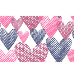 seamless pattern textile hearts background vector image vector image