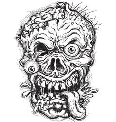 Sketchy Zombie Head vector image