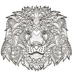 zentangle stylized cartoon head of a lion vector image vector image