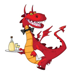 dragon waiter vector image vector image