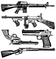Grunge gun collection vector