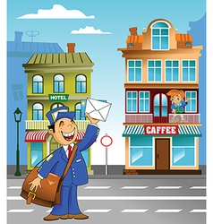 Postman under plane vector image vector image