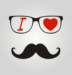 print i love hipster style glasses and mustaches vector image vector image