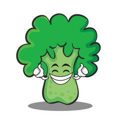 Proud broccoli chracter cartoon style vector