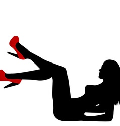 Sexy naked woman silhouette with red shoes vector image vector image
