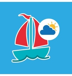 summer vacation design sailing boat icon vector image vector image