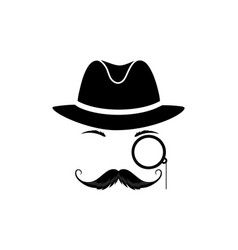 a mustache detective in a hat and with a monocle vector image