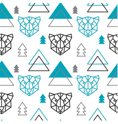 Abstract polygonal bear mountain and forest vector