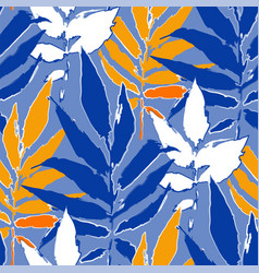 Abstract seamless pattern exotic leaves vector
