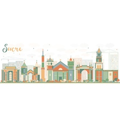 Abstract Sucre Skyline with Color Buildings vector