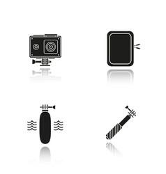 Action camera drop shadow black icons set vector