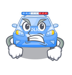 angry miniature cartoon police car on table vector image
