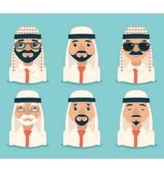 Arab avatars businessman young adult old retro vector