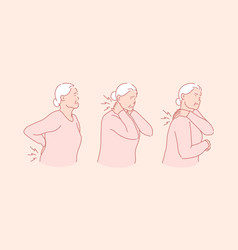 Arthritis rheumatism senile age illness concept vector