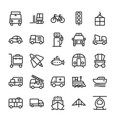 automobile line icons 2 vector image