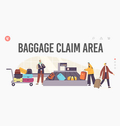 Baggage claim airport area landing page template vector