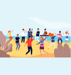 beach dance party happy crowd people dancing vector image