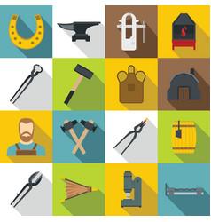 blacksmith icons set flat style vector image
