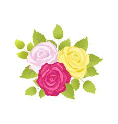 Bouquet roses poster set vector