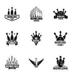 Bowling club logo set simple style vector