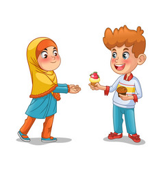 Boy give the cupcake to the muslim girl vector