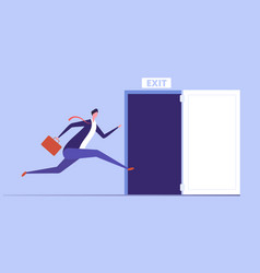 Businessman run to open exit door emergency vector