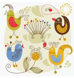cartoon cute birds vector image