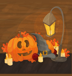 cartoon for halloween - hat lantern vector image