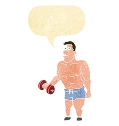 Cartoon man lifting weights with speech bubble vector