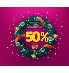 Christmas sale special offer promo banner fifty vector