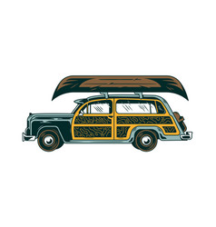 Classic vintage old car for freedom travel vector