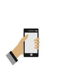 close up hands are holding the mobile phone vector image