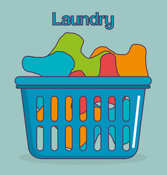 clothes plastic basket laundry service vector image