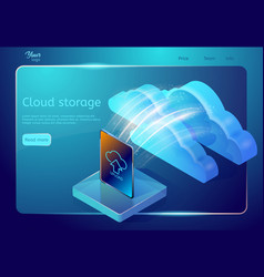 Cloud data storage web page template abstract vector