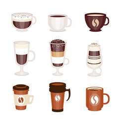 coffee hot and cold cocktails menu assortment of vector image