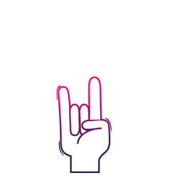 Color line hand with rock gesture symbol vector