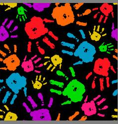 color set of hands on black background vector image