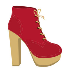 Color silhouette of high heel shoe with shoelaces vector