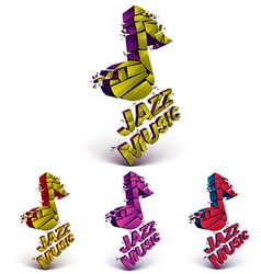 Colorful 3d musical notes collection broken into vector