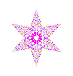 Colorful isolated geometrical petal ornament star vector